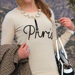 Loft Paris Print Sweater Size M